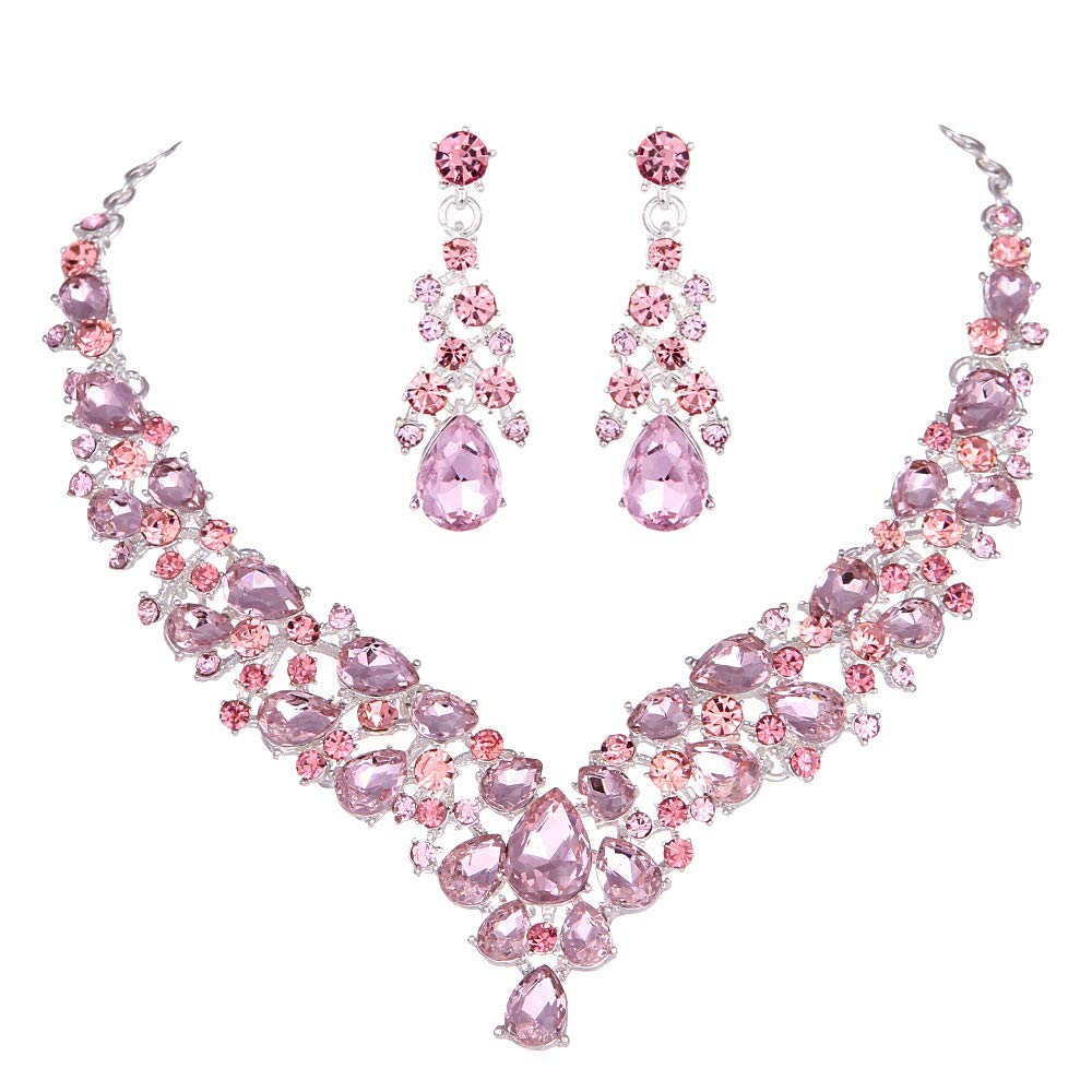 Crystal Pink Bridal Jewelry Sets teardrop Shape Wedding Necklace Earrings African fashion party Jewelry Sets Accessories 8 color