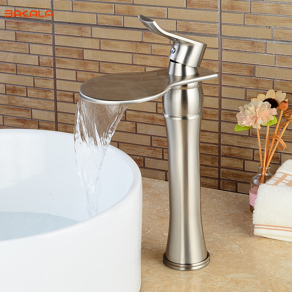 BAKALA Deck mounted Waterfall Bathroom Sink Vessel Faucet Nickel Brushed Bath Spout LH-555L