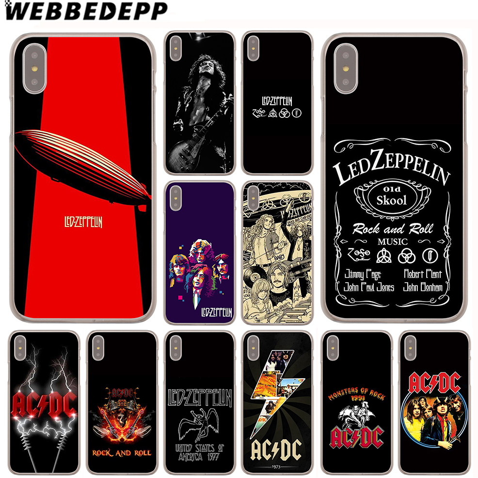 size 40 68023 eb116 US $1.99 13% OFF WEBBEDEPP Led Zeppelin ACDC Bands Case for Apple iPhone 4  4S 5C 5S SE 6 6S 7 8 Plus 10 X Xr Xs Max 6Plus 7Plus 8Plus-in Half-wrapped  ...