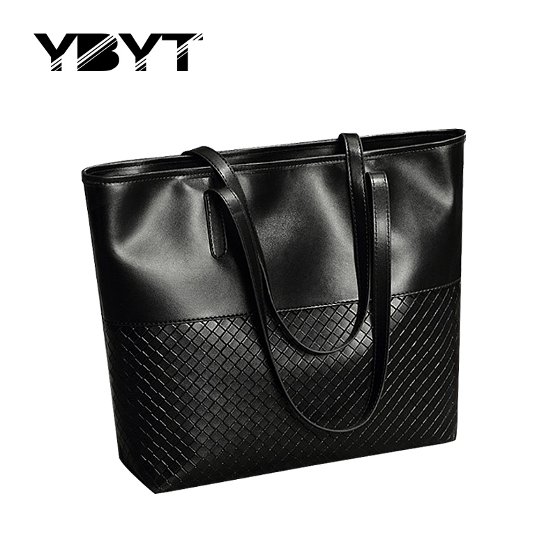 YBYT brand 2017 new PU leather women casual large totes diamond lattice simple s