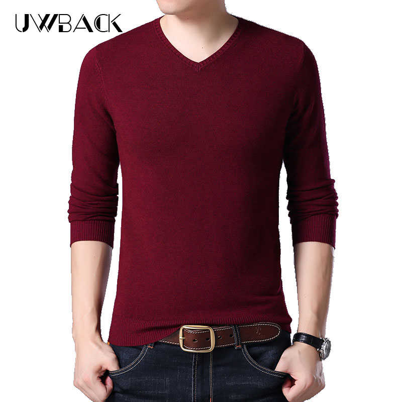 6a342620bcd Uwback 2018 Autumn Men Wool Sweater V-Neck Long Sleeve Fashion Sweaters Male  Slim Fitness