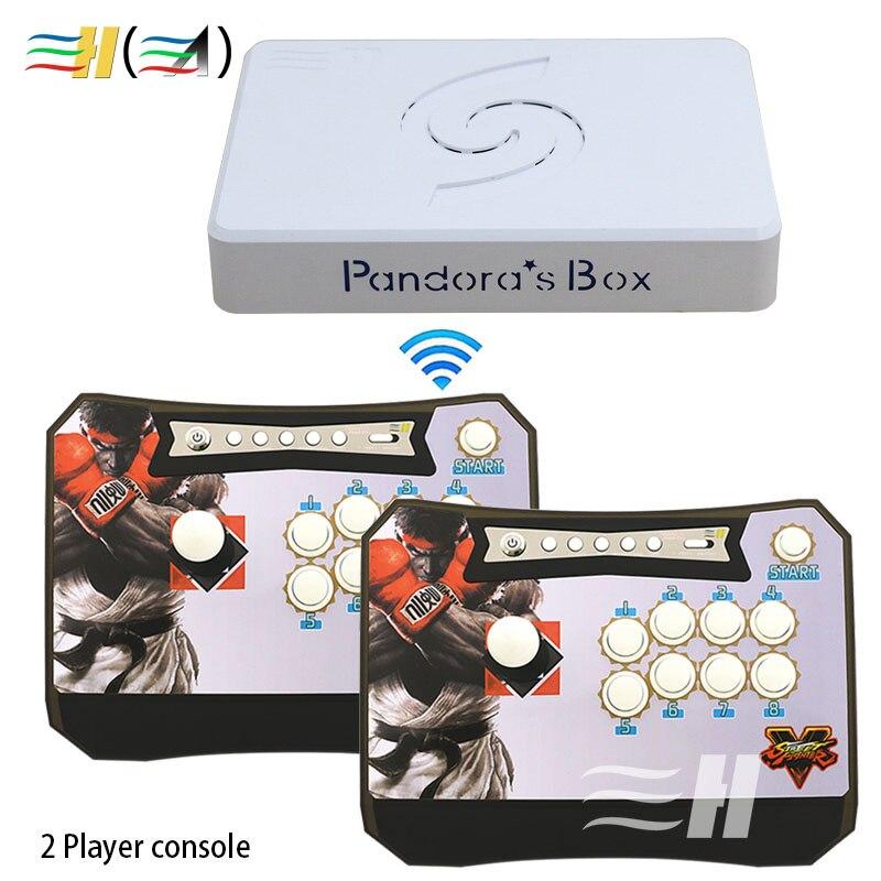 Pandora Box 6 1300 en 1 Console sans fil 2 joueurs contrôleur de bâton d'arcade ensemble sans fil HDMI VGA usb à tv PC PS3 fba mame ps1