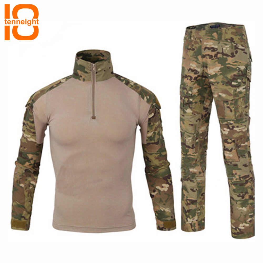 TENNEIGHT Tactical military uniform Army clothing men's paintball sport Frog camouflage suit hunting shirts tactical pants kryptek mandrake frog fighting suit police frog uniforms army trainning uniform set one long sleeve shirt and one tactical pant