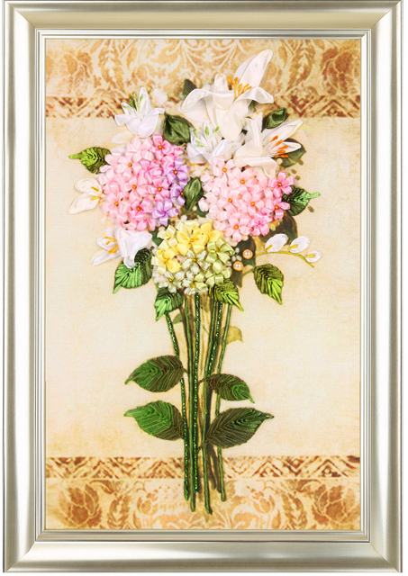 Color Silk Ribbons Embroidery Patterns Paintings Pink Flowers Kits