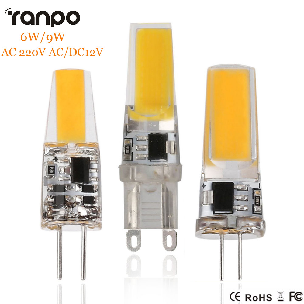 <font><b>G4</b></font> G9 Dimmable <font><b>LED</b></font> Bulb Lamp Light AC/DC <font><b>12V</b></font> 220V 6W <font><b>9W</b></font> COB SMD <font><b>LED</b></font> Lighting Lights Replace Halogen Spotlight Chandelier image