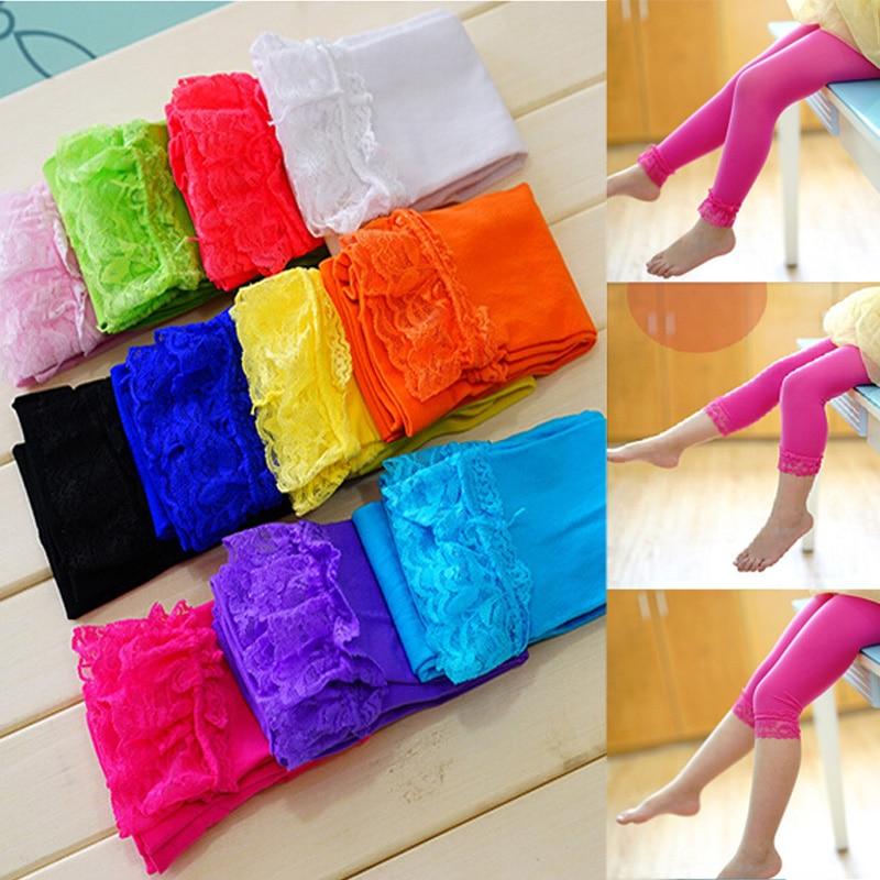 2018 new hot selling girl legging candy colored velvet lace leggings for girls 2-6 year pants for girls kids leggings
