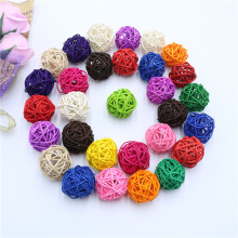 15PCS 4CM Pretty Rattan Ball DIY Sepak Takraw Wooden Ornaments Christmas/Birthday/Wedding Party Decoration Supplies