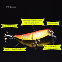 1pc Minnow Fishing Wobblers Fake Lure 135mm 15g Lures 3 Segment Hard Artificial Bait Tackle For Peche Supplies Sea Fish 6# Hooks
