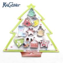 KHGDNOR 10 pçs/set Aço Inoxidável Cortador De Biscoitos De Natal Estrela Da Árvore Do Coração Forma Meia Série Natal Molde Cortadores de Biscoito