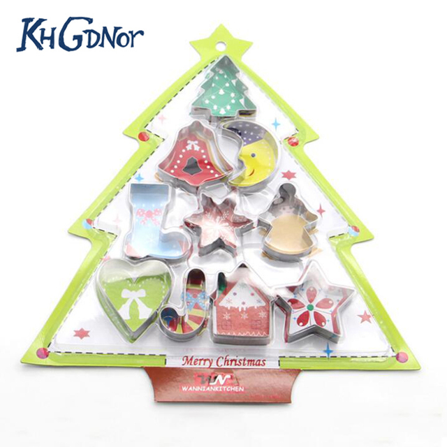 KHGDNOR 10pcs/set Stainless Steel Cookie Cutter Christmas Star Heart Tree Sock Shape Mold Christmas Series Biscuit Cutters