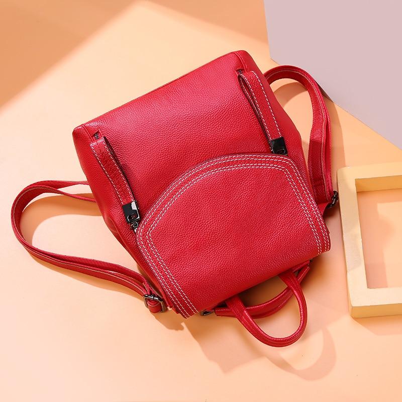 1c95e5eb7d91 2019 New Women Leather Backpacks Female Shoulder Bag Leather Women's  Backpack Ladies Shoulder Bag School Bag for Teenage Girl