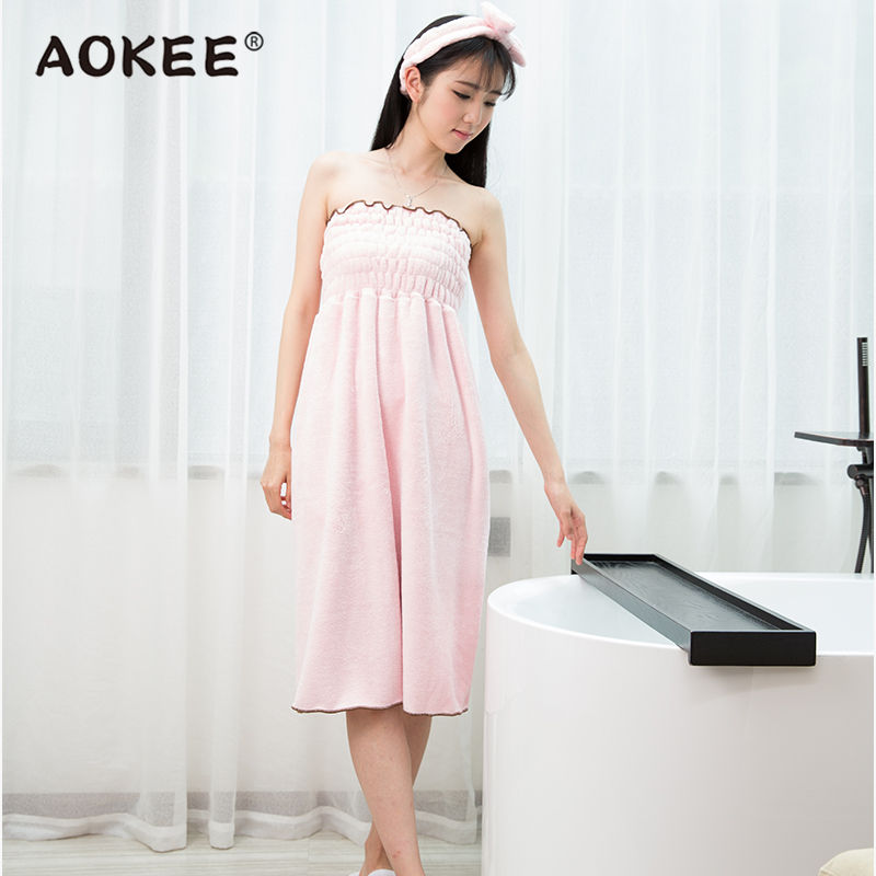 Sexy Wrapped Chest Bathrobe Woman Summer High Quality Soft Women's Solid Robes Dress Bath Robe for Girls Gift Luxury Brand AOKEE