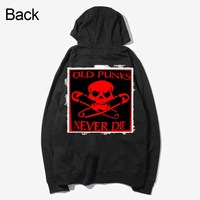 king of rock n roll old punks never die skull pattern patchwork design sweatshirts Spring Autumn zipper Hoodies outwear