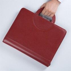 Zwart bruin rits PU leather portfolio a4 documenten map gevallen manager tas Tablet PC mobiele padfolio binder