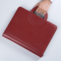 black brown business zipper PU leather portfolio a4 documents folder cases manager bag Tablet PC mobile padfolio binder