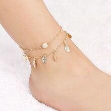 Sale Bohemian Summer Silvery Golden Women Tassel leaves Chain Anklets Charm Beach Girls Barefoot  Foot Jewelry