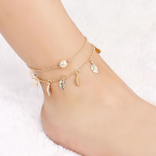 Sale Bohemian Summer Silvery Golden Women Tassel leaves Chain Anklets Charm Beach Girls Barefoot  Foot Jewelry
