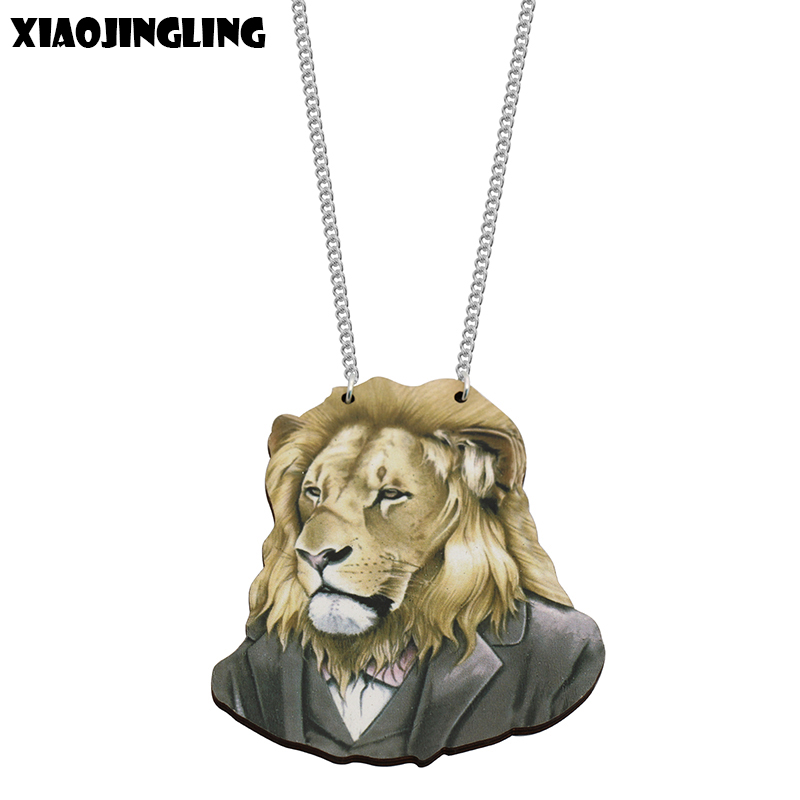 XIAOJINGLING New Fashion Natural Wood Lion Necklace Punk Style Long Sweater Necklaces For Men Jewelry Accessories Christmas Gift