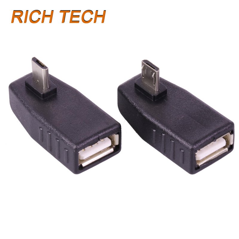 2pcs Micro USB male to USB Female jack connector USB connector 90 Degree Elbow USB extend adapter 10pcs lot micro usb connector jack
