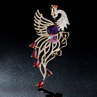 Lan Ting good folk style exquisite brooch inlaid crystal Phoenix Brooch Pin female fashion jewelry accessories
