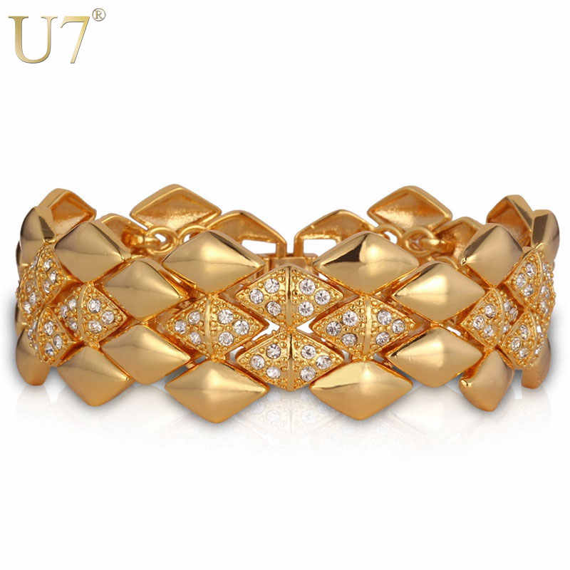 U7 Big Bracelet Geometric Trendy Jewelry Wholesale Dubai Gold Color Rhinestone 21CM 25MM Bracelets & Bangles For Men/Women H541