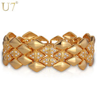 Chunky Bracelet Platinum 18K Real Gold Plated Rhinestone Jewelry 2014 Trendy Geometric 21 Cm Link Chain