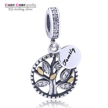 799a4703a 925 Sterling Silver Family Charms Crystal Tree of Life Beads Fit Pandora  Bracelet Pendant For Women berloque pulsera Jewelry