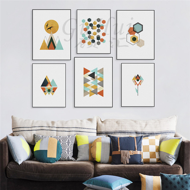 Minimalist Colorful Rug Designs: Nordic Colorful Abstract Geometric Mountain Sun Canvas