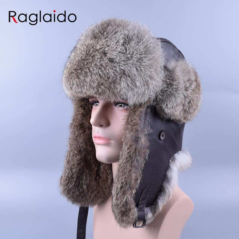 Raglaido Sombreros de piel real para hombres Sombrero de bombardero de invierno ruso Gorros de nieve de piel de conejo Aletas de oreja Sombreros de aviador engrosadores LQ11184
