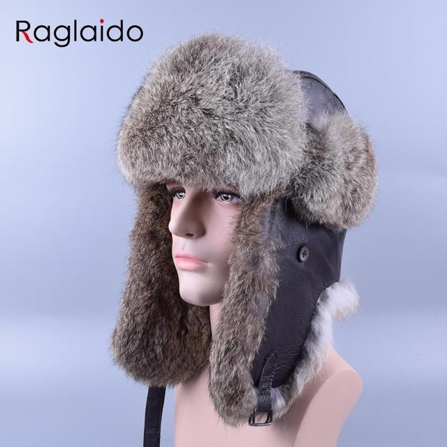 76b7a675bef Raglaido Real Fur Hats for Men Russian Winter Bomber Hat Rabbit Fur Snow  Caps Ear flaps