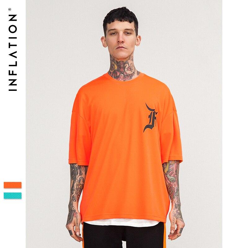 L'INFLATION 2018 marque de mode o-cou occasionnel lâche t-shirt robe hommes surdimensionné maille épaule t-shirt à manches courtes tops t-shirts 8272 S