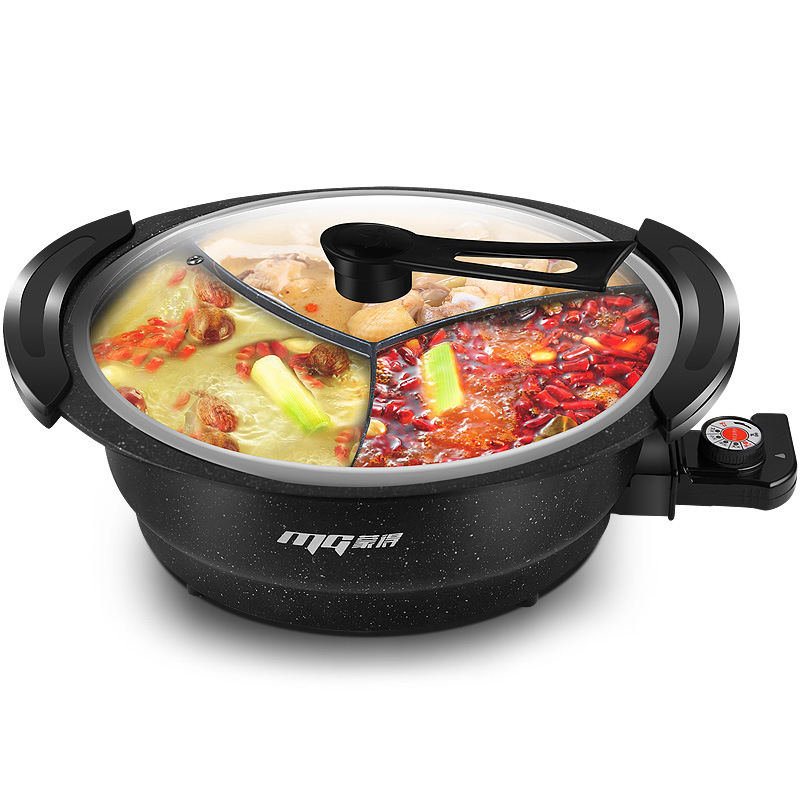 Multi-function Soup Cooking Pot Large Capacity Non-stick 3 Divided Electric Hot Pot Maifan Stone Boiler With Visual Stand Cover 220v household electric pot convenient electric cooker 1l capacity electric skillet multi function steam stew kitchen tool