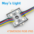 100 pcs Quadrado 4 x SMD5050 RGB Impermeável Módulo de LED para Publicidade