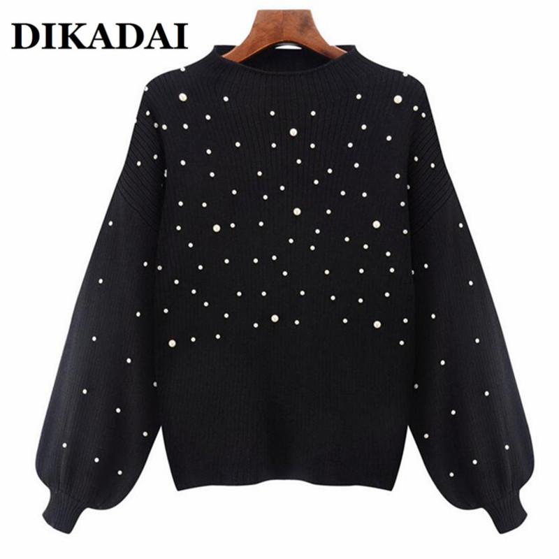 Patchwork Beading Women Elegant Sweaters and PulloversLong Sleeve Knitted Autumn 2017 Tops Casual Sweater female