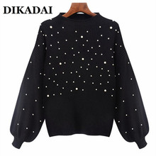 Patchwork  Beading Women Elegant Sweaters and PulloversLong Sleeve Knitted Autumn 2017 Tops Casual Sweater female jumper