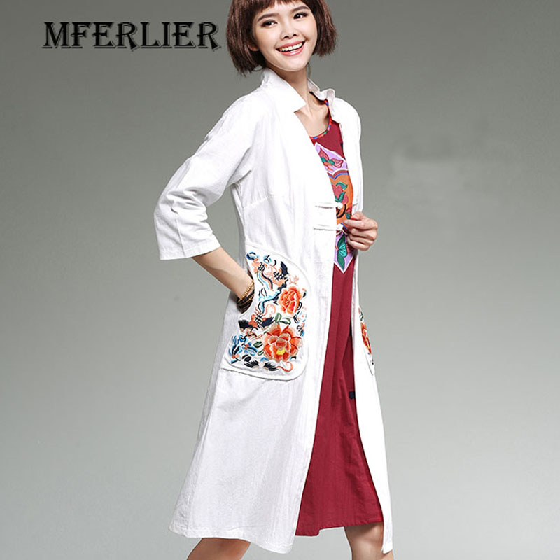 2095e7c1b21 Trench Coat Women Winter and Autumn Chinese Style Mandarin Collar Embroidery  Cotton and Linen Long Trench Coat-in Trench from Women s Clothing on ...