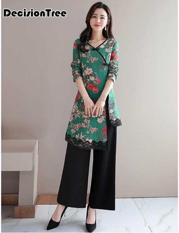 2019 Elegant Vietnam Ao Dai Traditional Dress Qipao Long Cheongsam Dresses Cotton Linen Robe Chinoise Aodai Pieces Suit