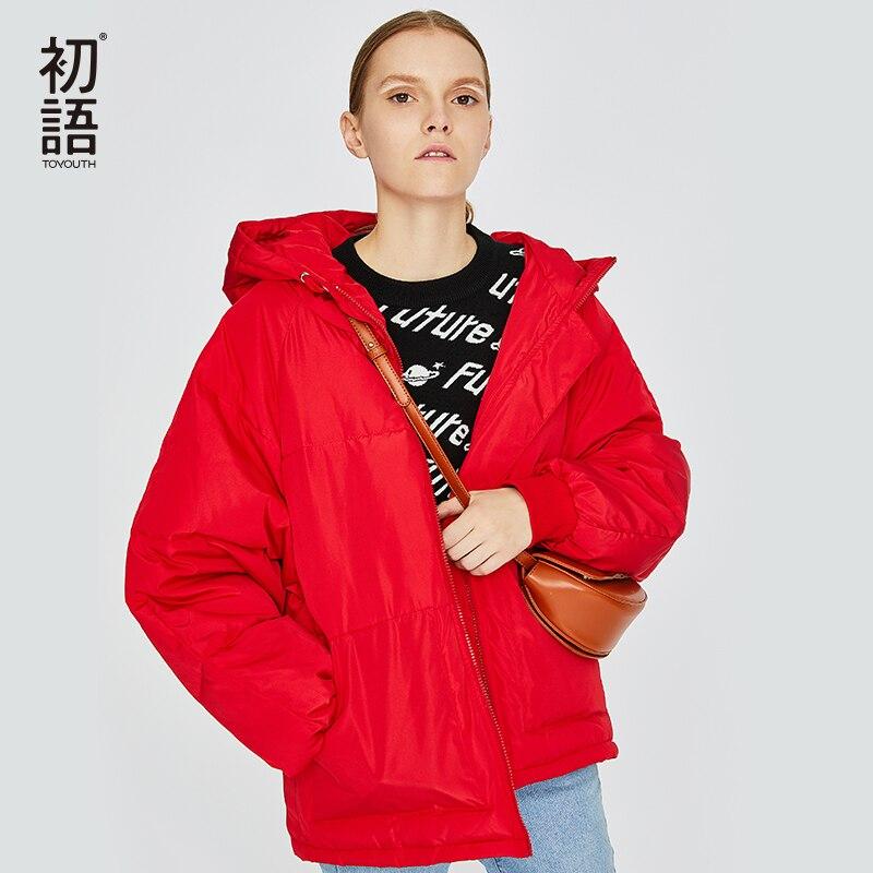 Toyouth зимние короткие вышивка Для женщин пальто фугу буквы пальто Mujer утепленная парка с капюшоном Повседневное дамы пальто 2018