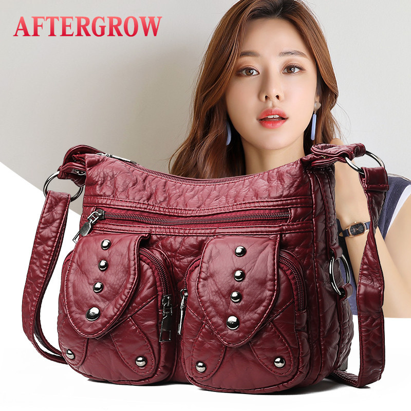 Medium Messenger Bag Women Washed Leather Rivet Crossbody Portable Shoulder Bags Middle Ages Female Handbag Bolsa De Cuero Medio