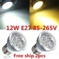 8PCS/LOT Dimmable CREE 12W  E27  Led spotlight downlight bulb lamp led light LED lighting