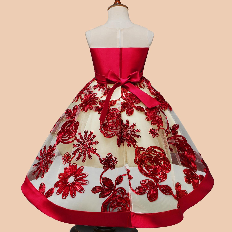 Bébé fille broderie soie robe de princesse pour la fête de mariage enfants robes pour enfant en bas âge fille enfants mode vêtements de noël - 3