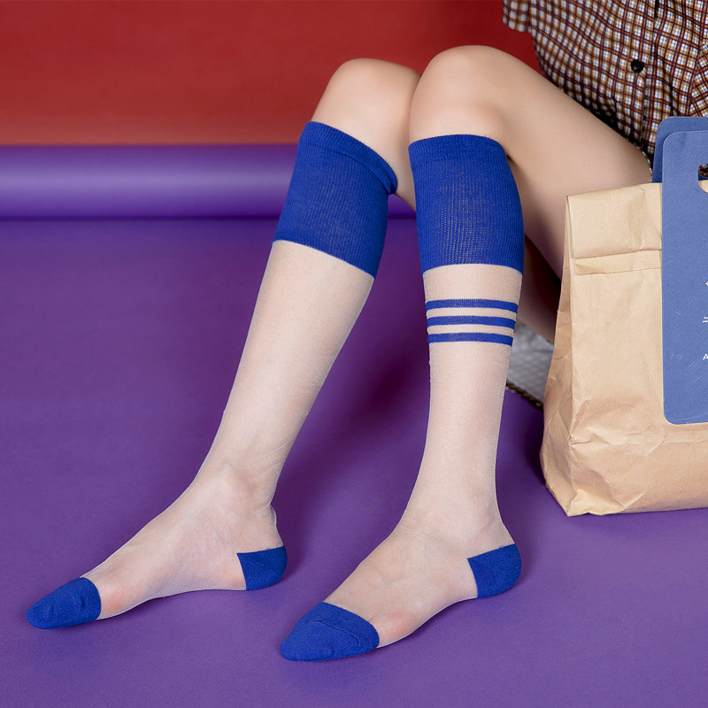 New spring and summer products Korean version of women 39 s calf socks transparent personality glass silk and knee crystal socks in Stockings from Underwear amp Sleepwears