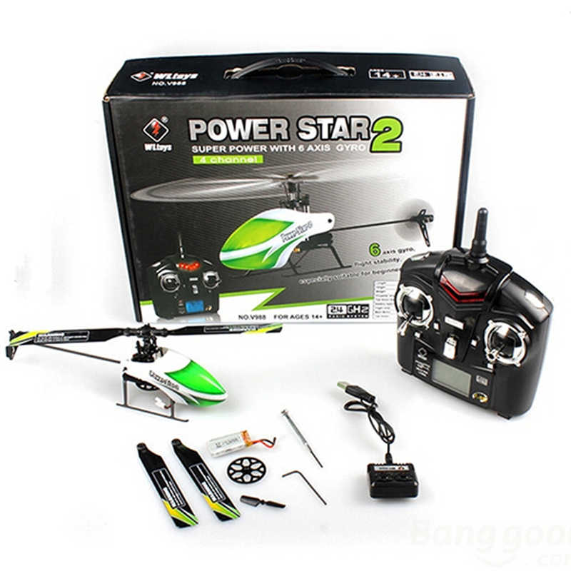 Original New Hot WLtoys V988 Power Star 2 4CH 6-Axis Gyro Flybarless Helicopter RTF RC Models Kids Birthday Gift