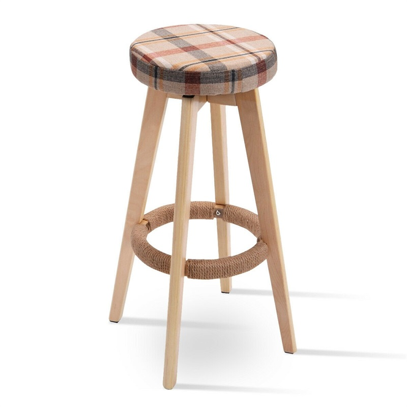 Round Wooden Comfortable Natural Linen Fabrics Counter Bar Stool Sturdy Solid Wood Frame 360 Degree Swivel Bar Chair HW52977 Салфетницы