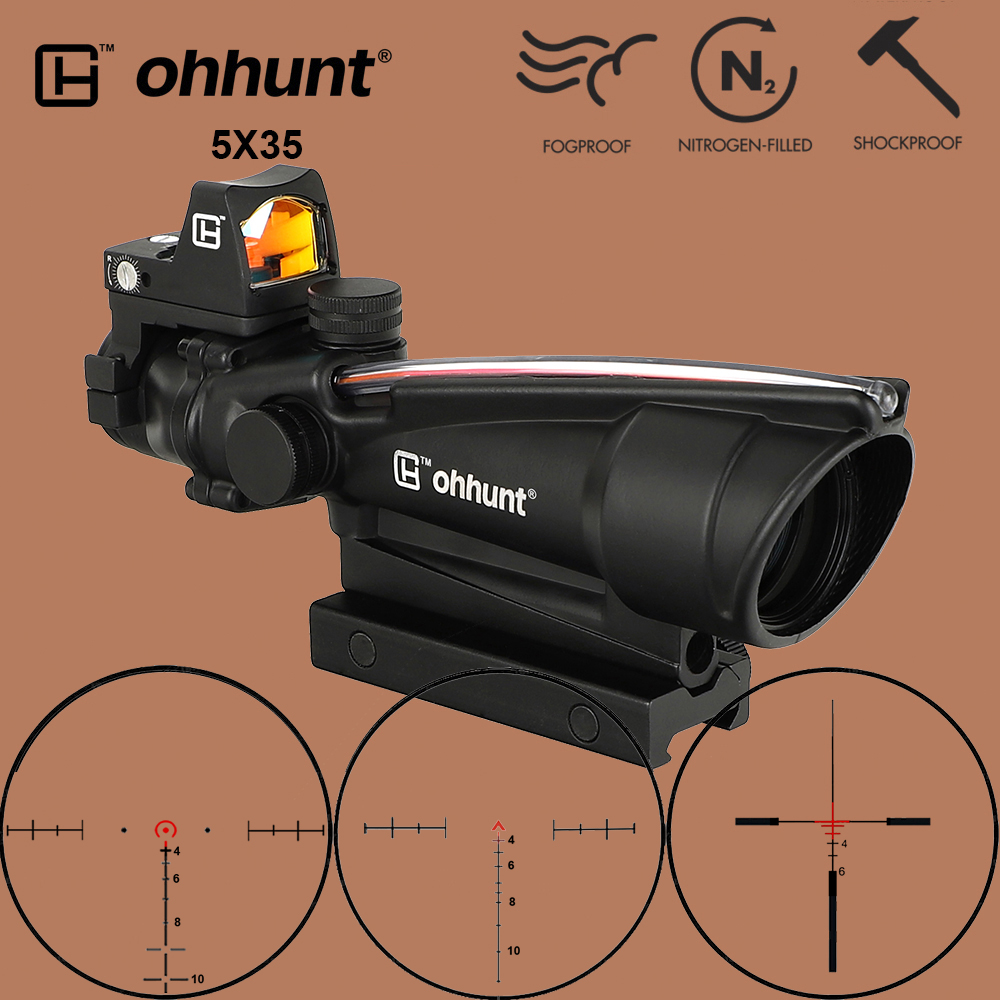 Ohhunt 5X35 ACOG Hunting Riflescope BDC Chevron Horseshoe Reticle Optical Sights With Red Dot For Tactical Rifle Cal .223 .308