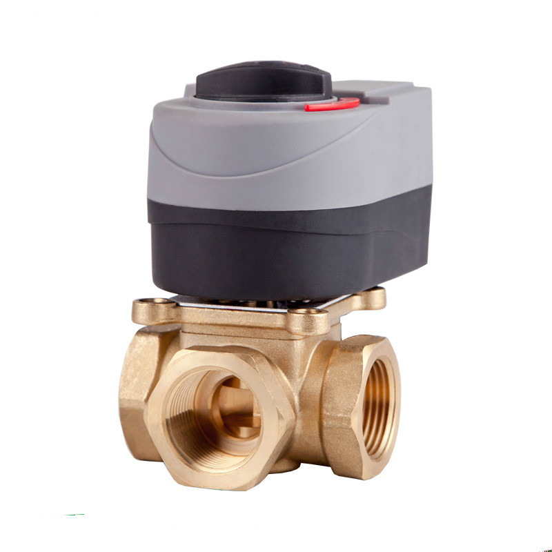 220v Electric valve T type brass motorized ball valve three way valve Can be manually and