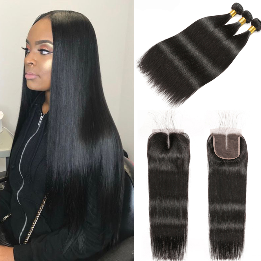 Straight Hair Bundles With Closure RUIYU Human Hair Bundles With Closure Brazilian Hair Weave Bundles Remy