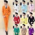 (Куртка + жилет + брюки + галстук) высокого класса свадебное платье жених pure color бутик модной одежды костюмы/индивидуальный дизайн Мужчины деловые костюмы