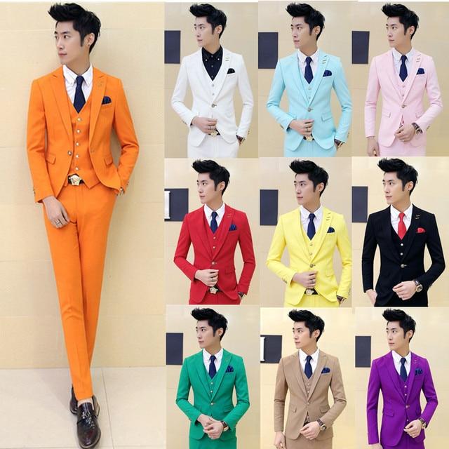 (Jacket + pants + vest + tie) de gama alta de la boda vestido de novio de color pure fashion boutique trajes/diseño a medida trajes de negocios Masculinos