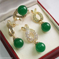 FREE SHIPPING>>@> Jewelry 001198 Bridal Woman's Jewellery Emerald Jade Necklace Bracelet Ring Earring Set Natural jewelry